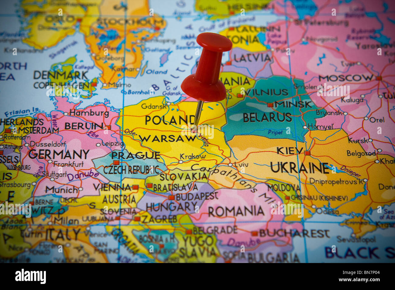 map pin pointing poland on stock photos map pin pointing poland