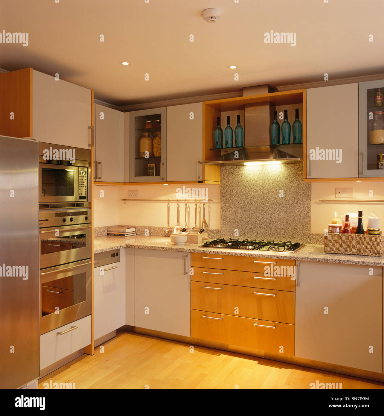 Recessed Lighting For Kitchen Recessed Lighting Below Fitted Wall Cupboards In Modern White