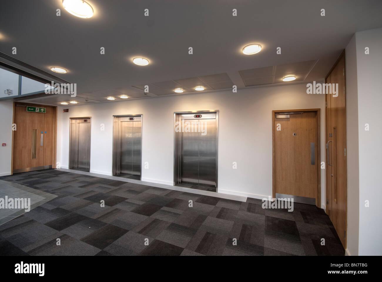 office reception area. lift doors in modern office reception area n