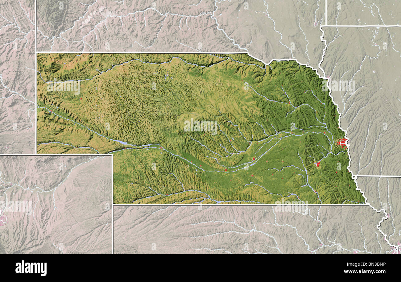 Nebraska Shaded Relief Map Stock Photo Royalty Free Image - Nebr map