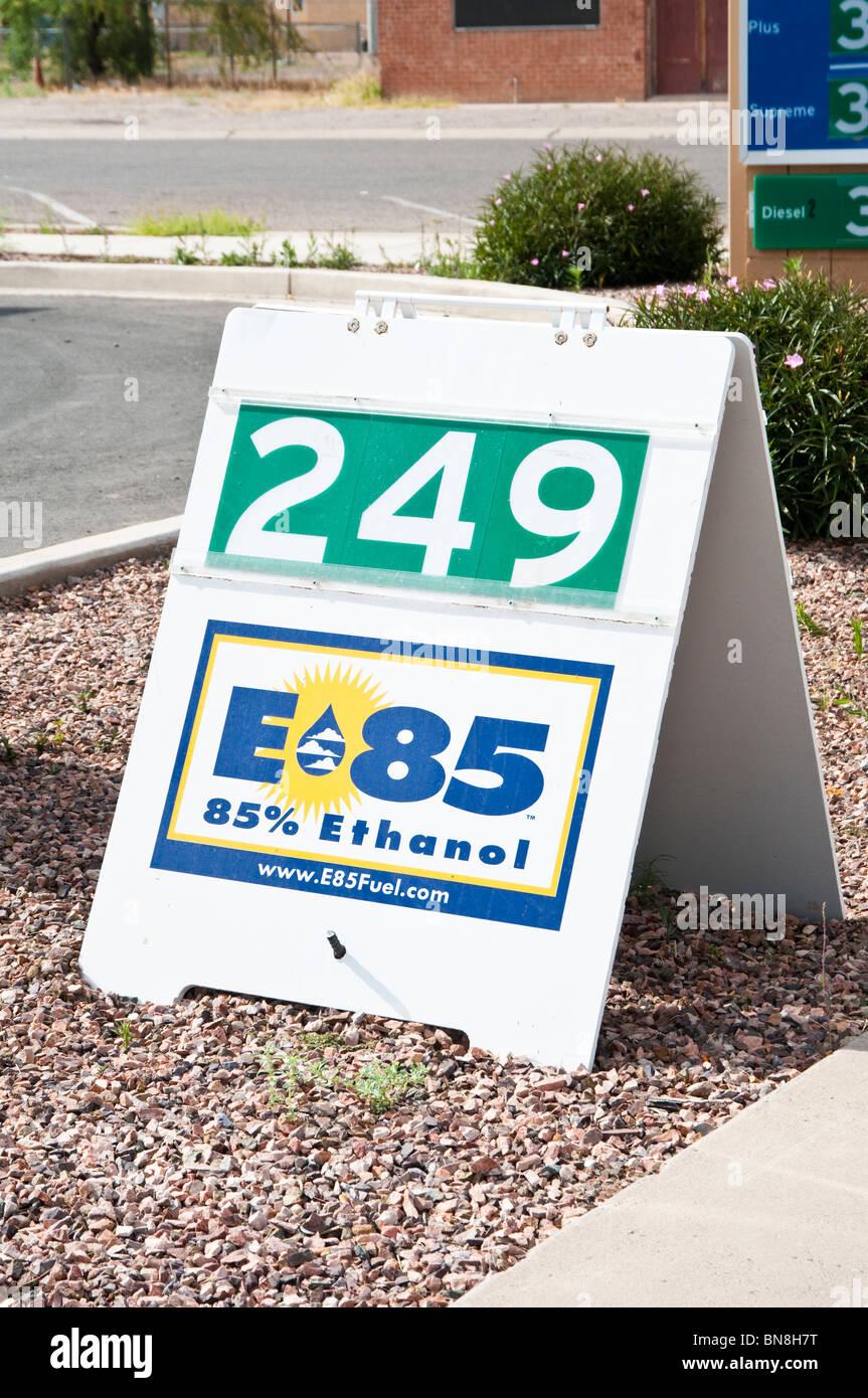 A sign along the sidewalk advertises e85 85 ethanol blended fuel a sign along the sidewalk advertises e85 85 ethanol blended fuel buycottarizona