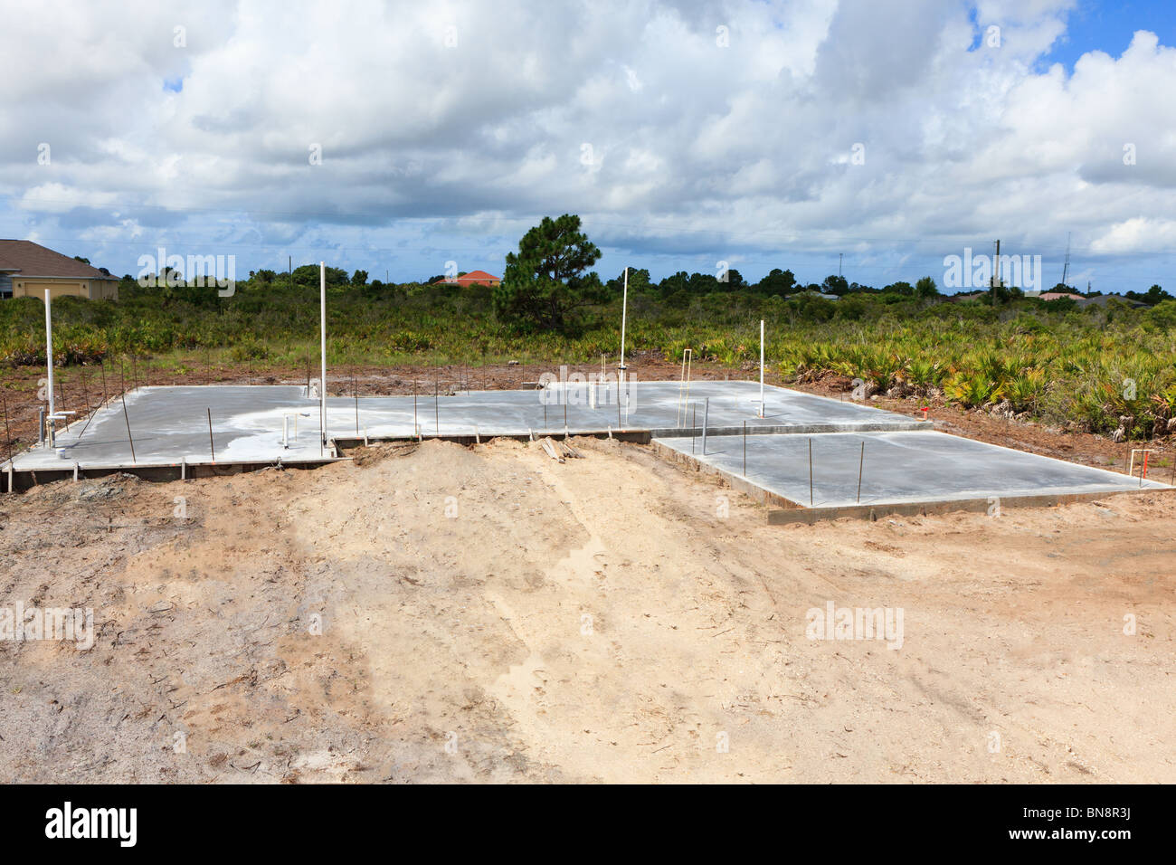 New home construction cement foundation with rough for New construction plumbing rough in