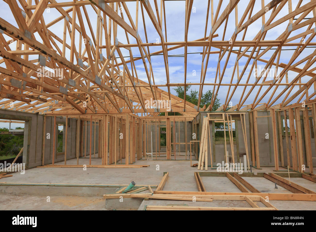 Block Home With Wood Roof Trusses On Under Construction