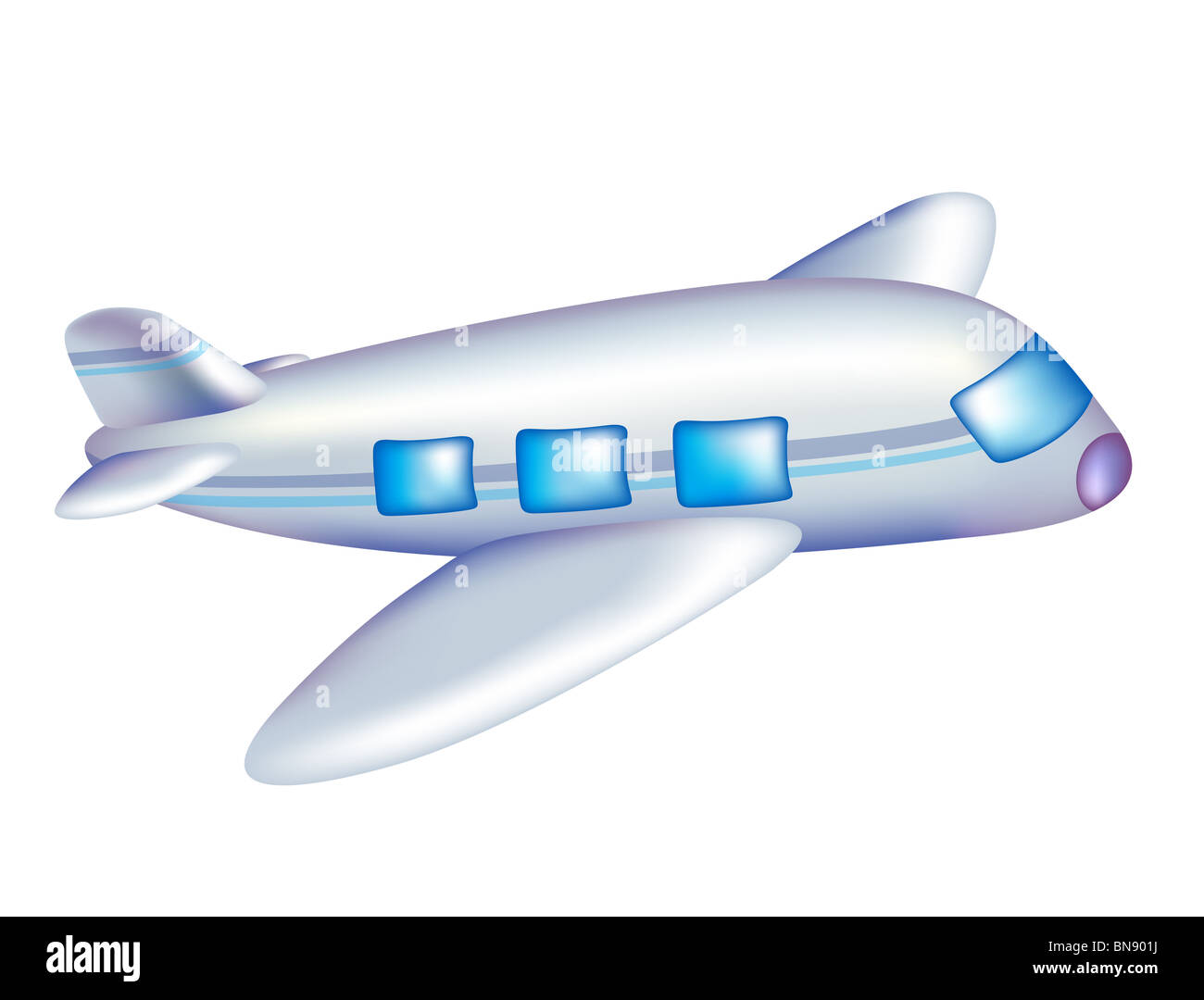 cartoon aircraft in flight with a white background stock photo