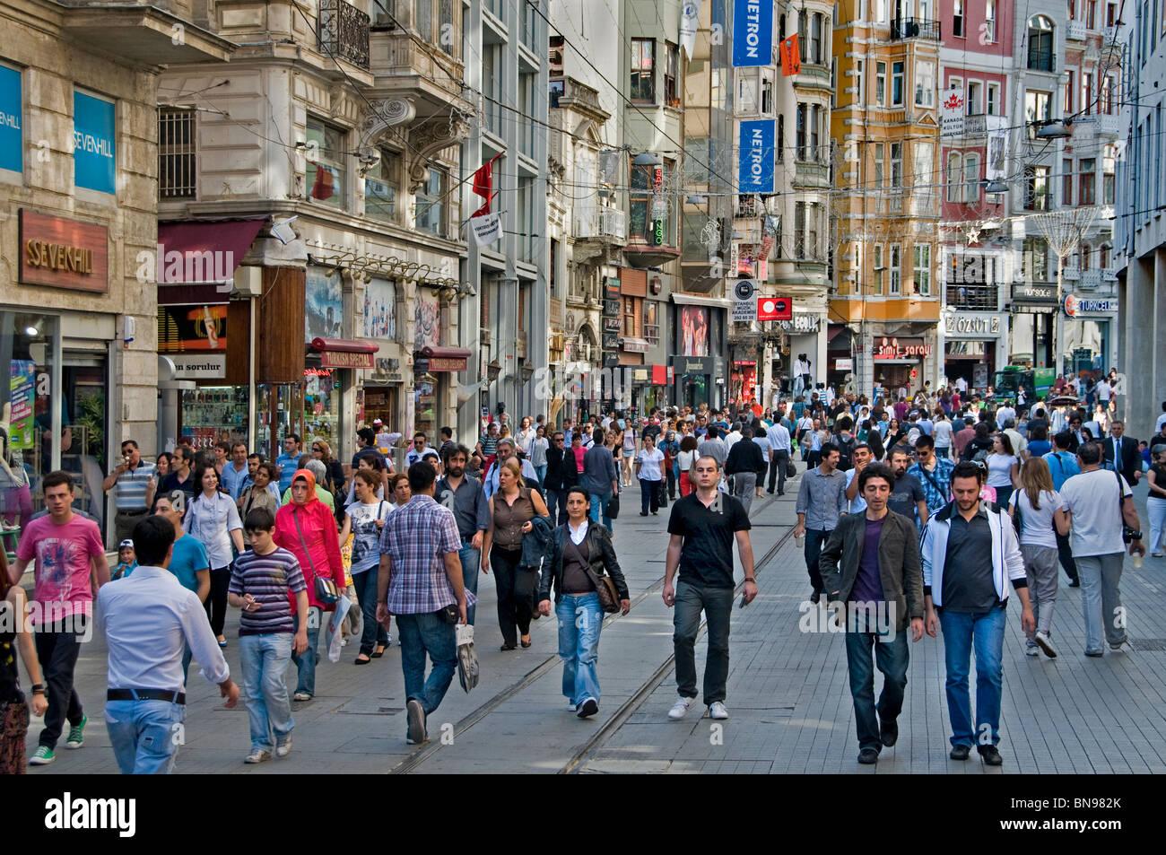 Istanbul Istiklal Caddesi Beyoglu shopping street quarter ...