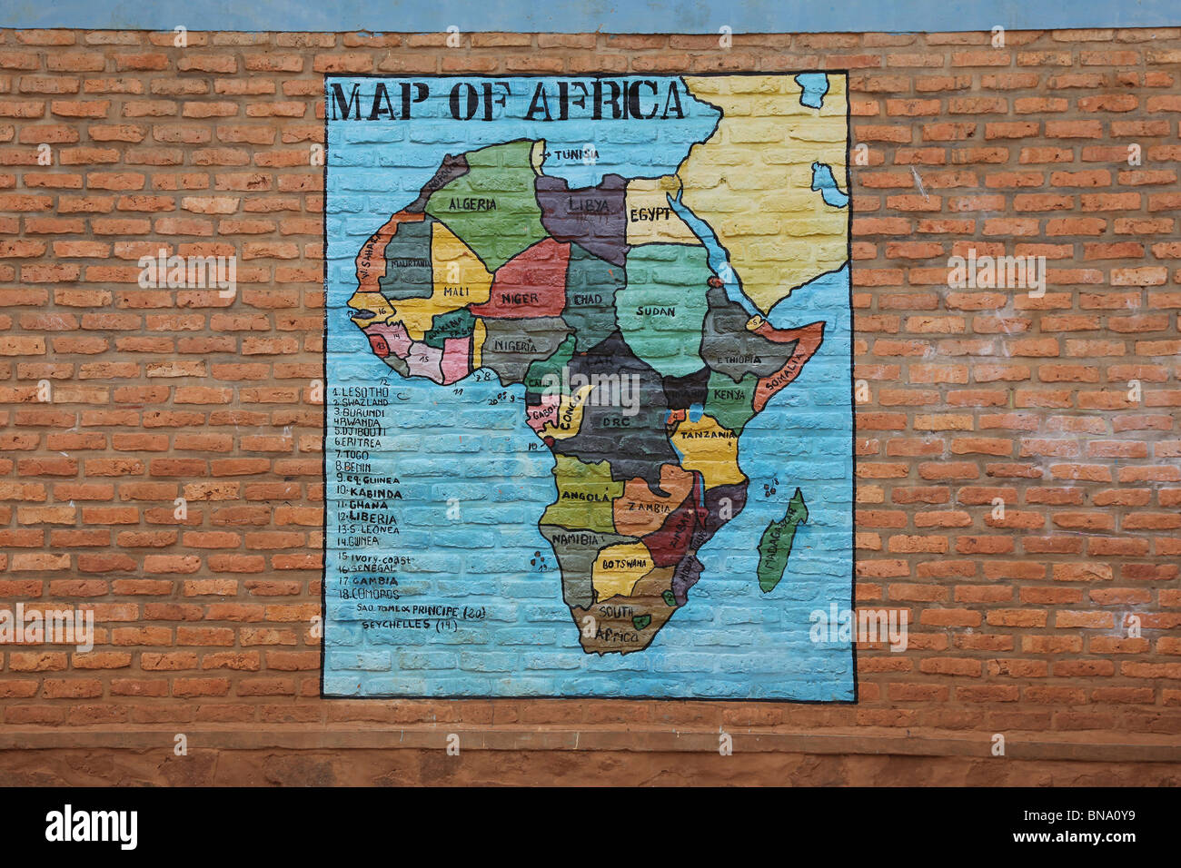 Worksheet. map of africa painted on the wall of a school in africa Rwanda
