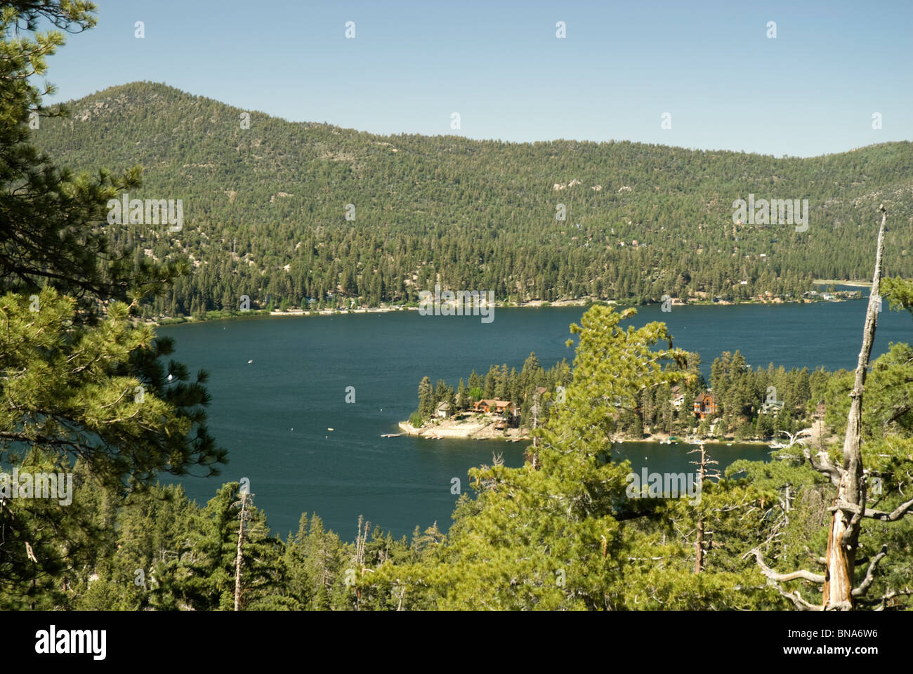 View Of The Lake From A Higher Elevation At Big Bear Lake Stock - Higher elevation