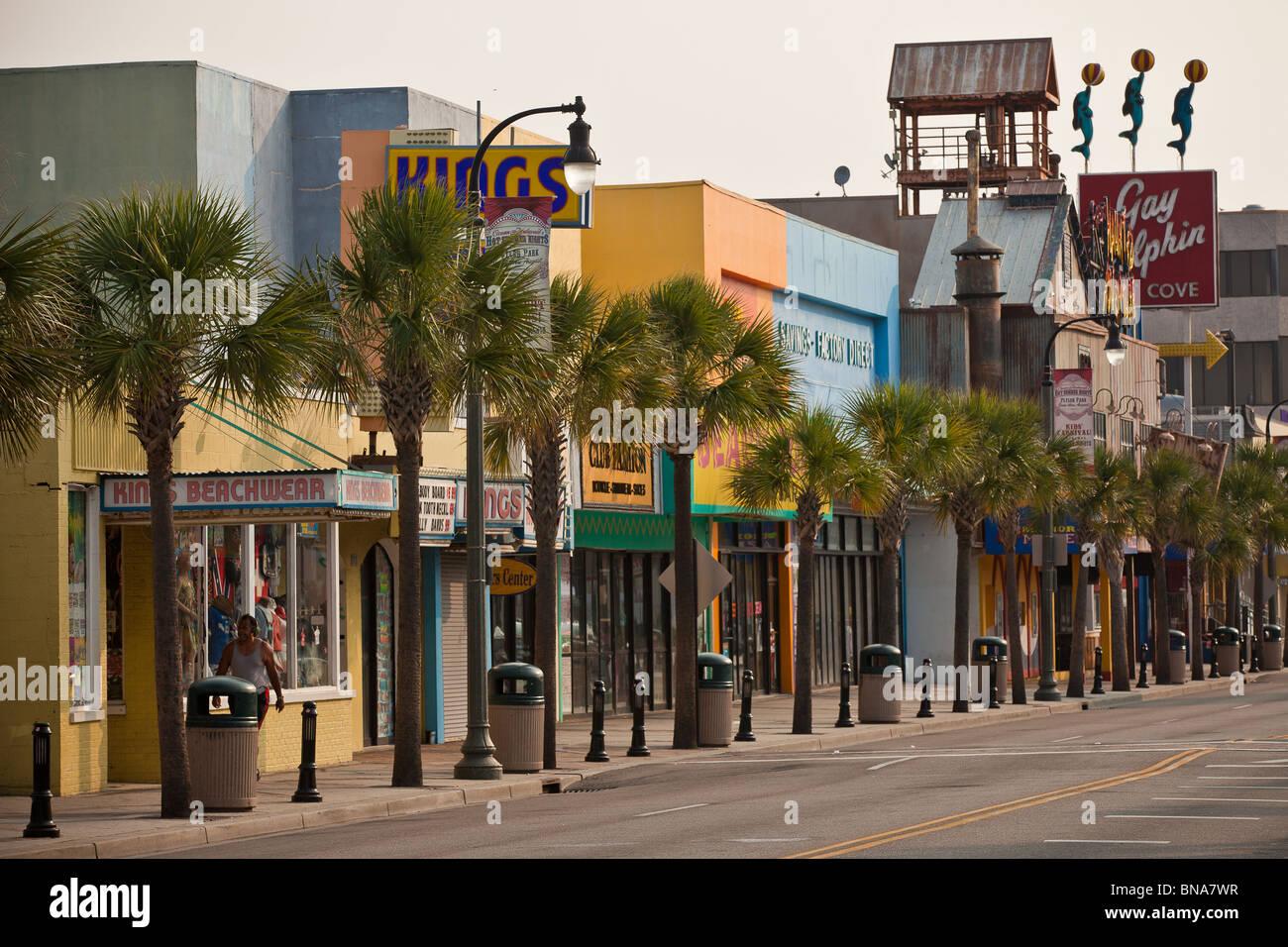 Ocean Blvd Tourist Strip On The Boardwalk Along Beachfront In Myrtle Beach SC