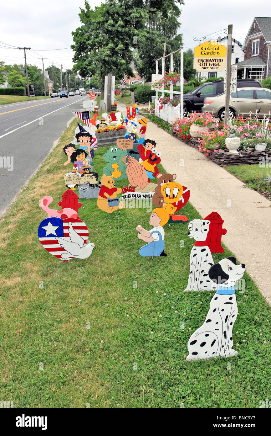 Lawn Ornaments On Display In Front Of Garden Center On North Fork Of  Eastern Long Island NY