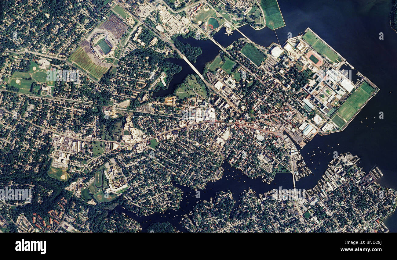 Aerial Map View Above Annapolis Maryland United States Naval - Us naval academy campus map