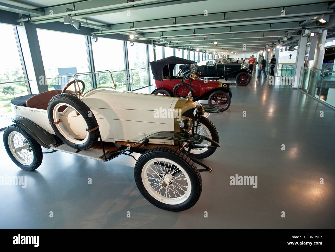 Vintage cars on display at car museum in Autostadt in Wolfsburg ...