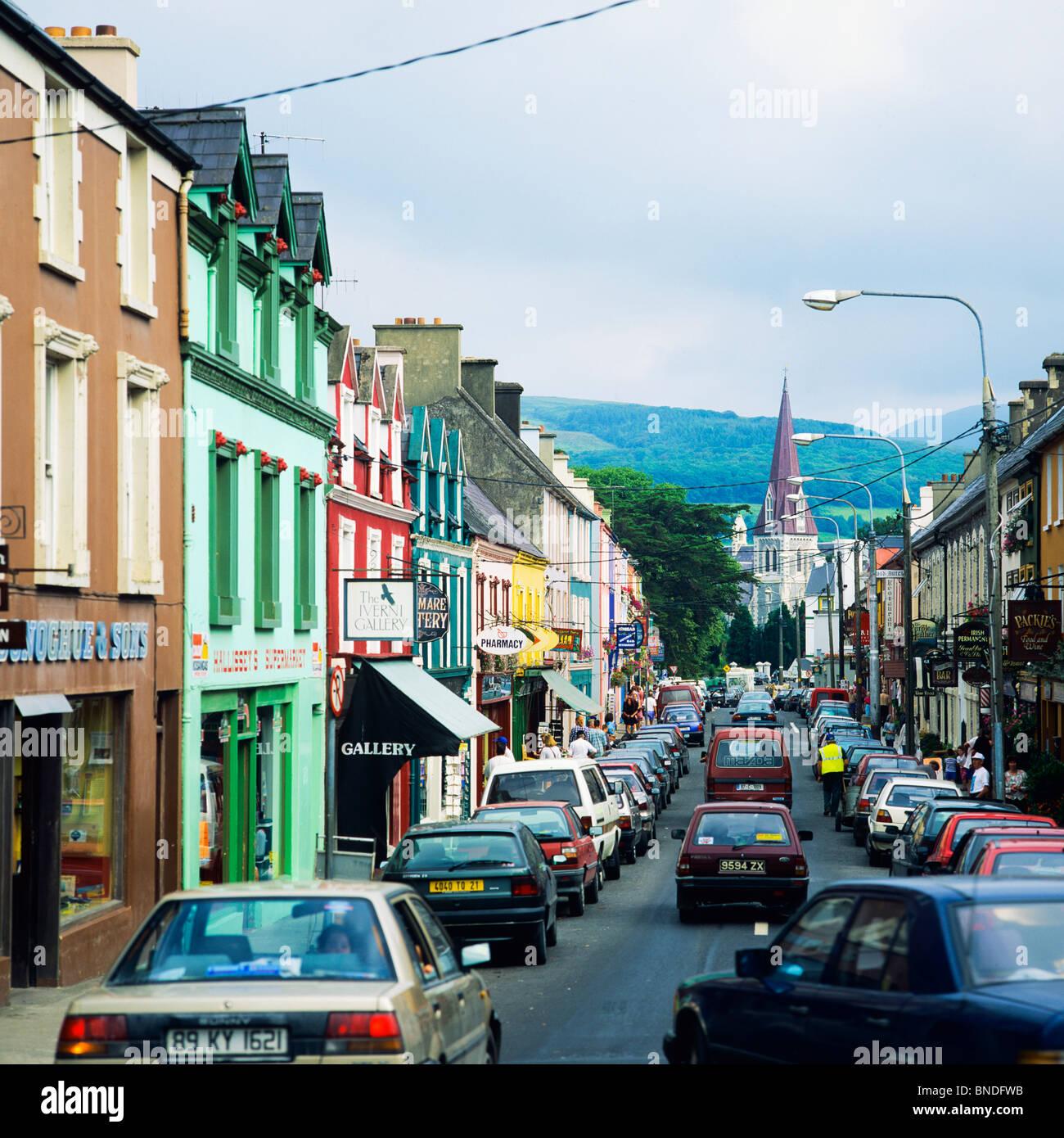 Main Street Auto >> Car traffic on main street, Westport, County Mayo, Republic of Stock Photo, Royalty Free Image ...
