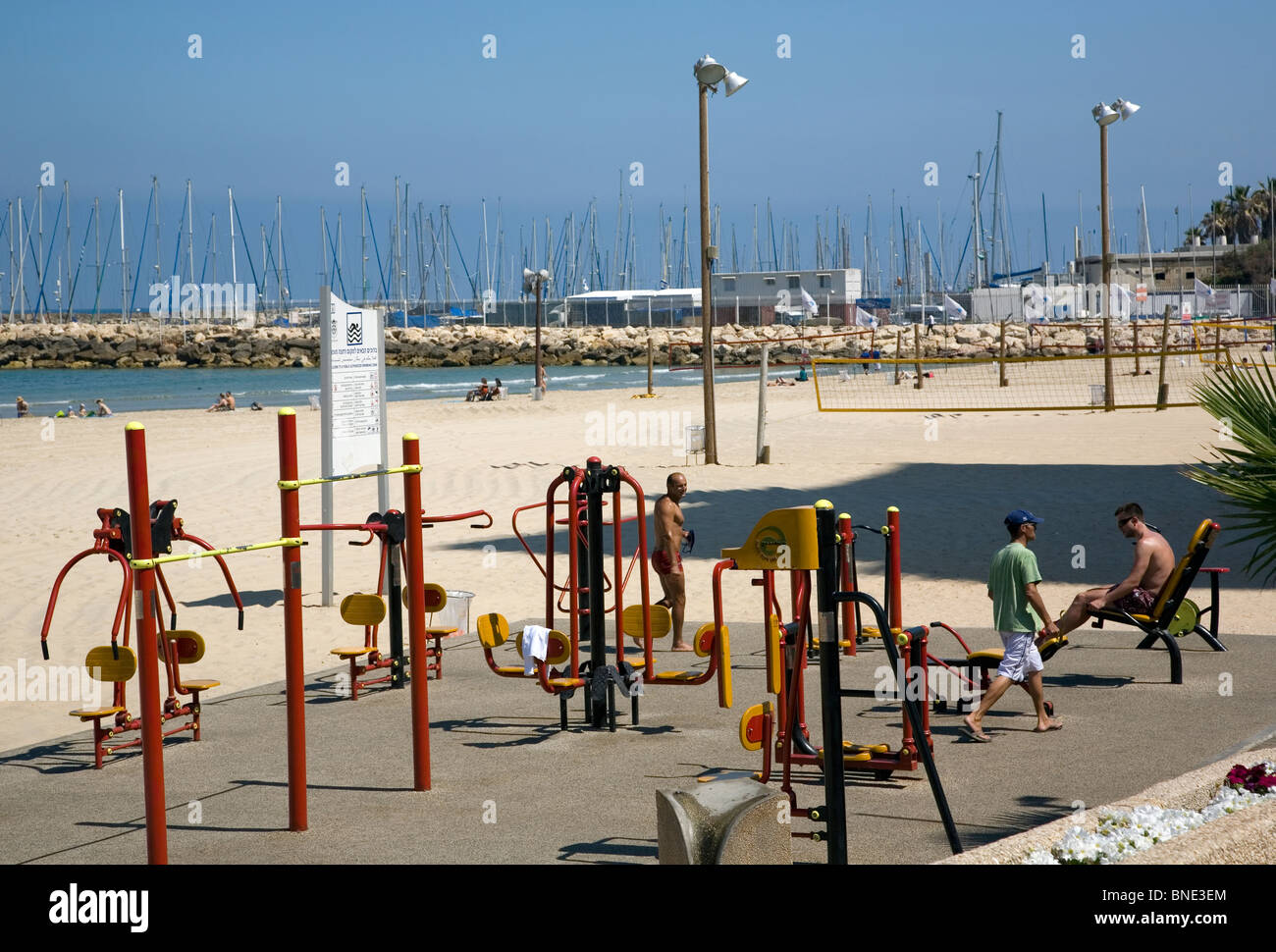 Beach outdoor gym in tel aviv stock photo royalty free