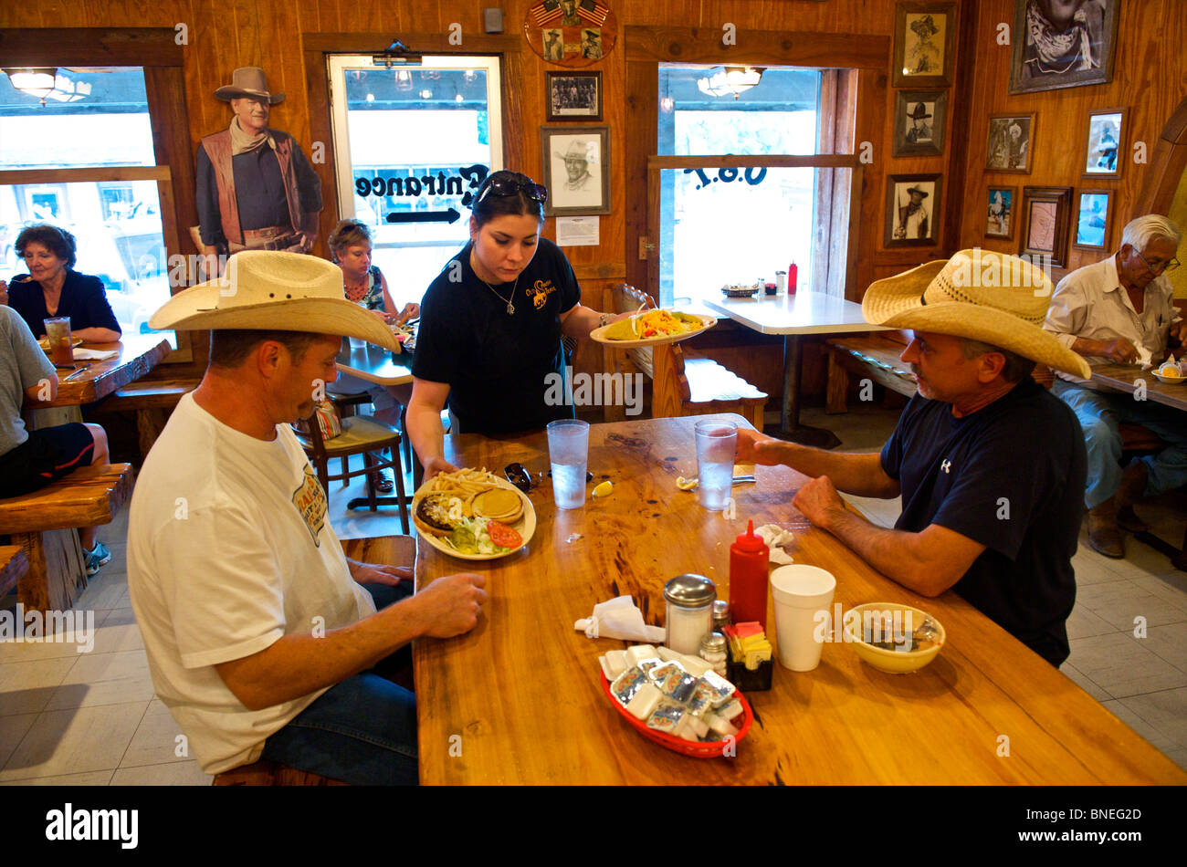 John wayne poster in a spanish restaurant hill country for Argents hill country cuisine
