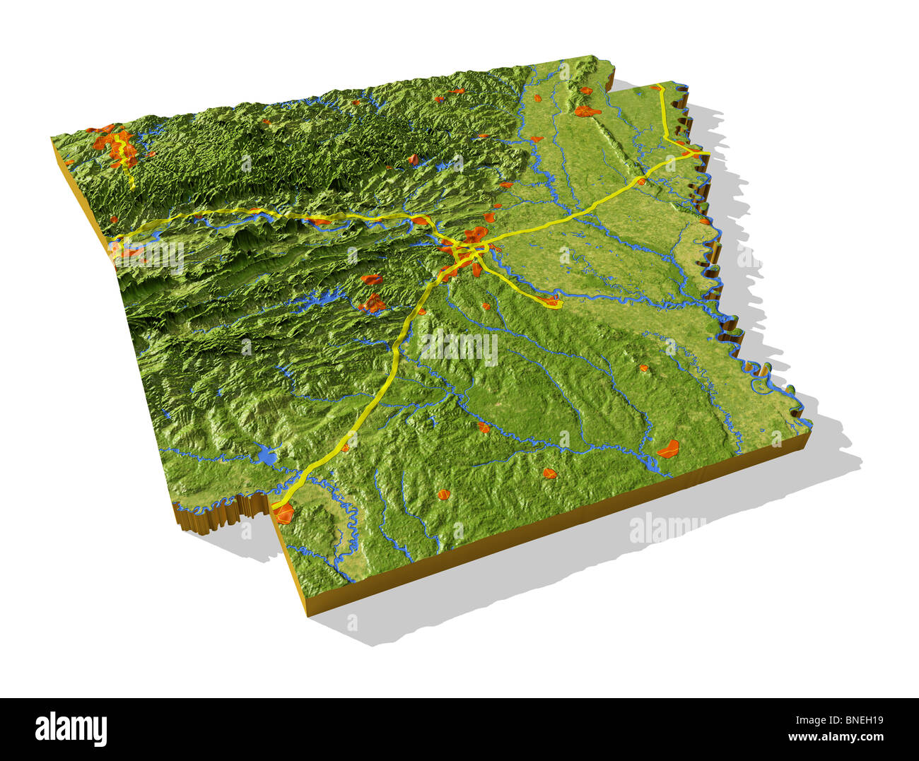 Arkansas D Relief Map Cutout With Urban Areas And Interstate - Arkansas relief map