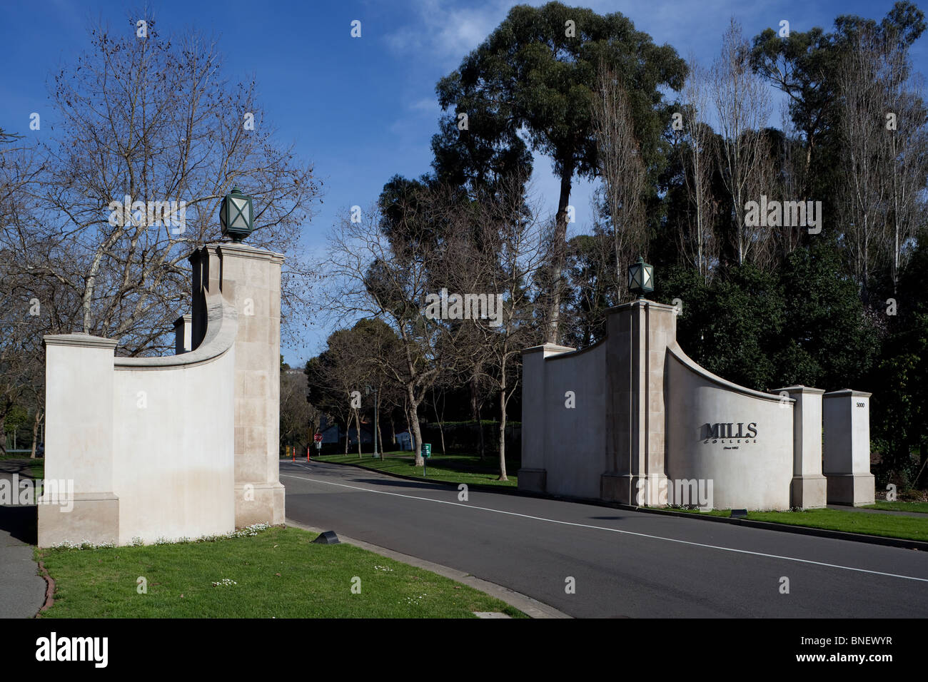 Entrance of Mills College in Oakland CA Stock Photo, Royalty Free ...