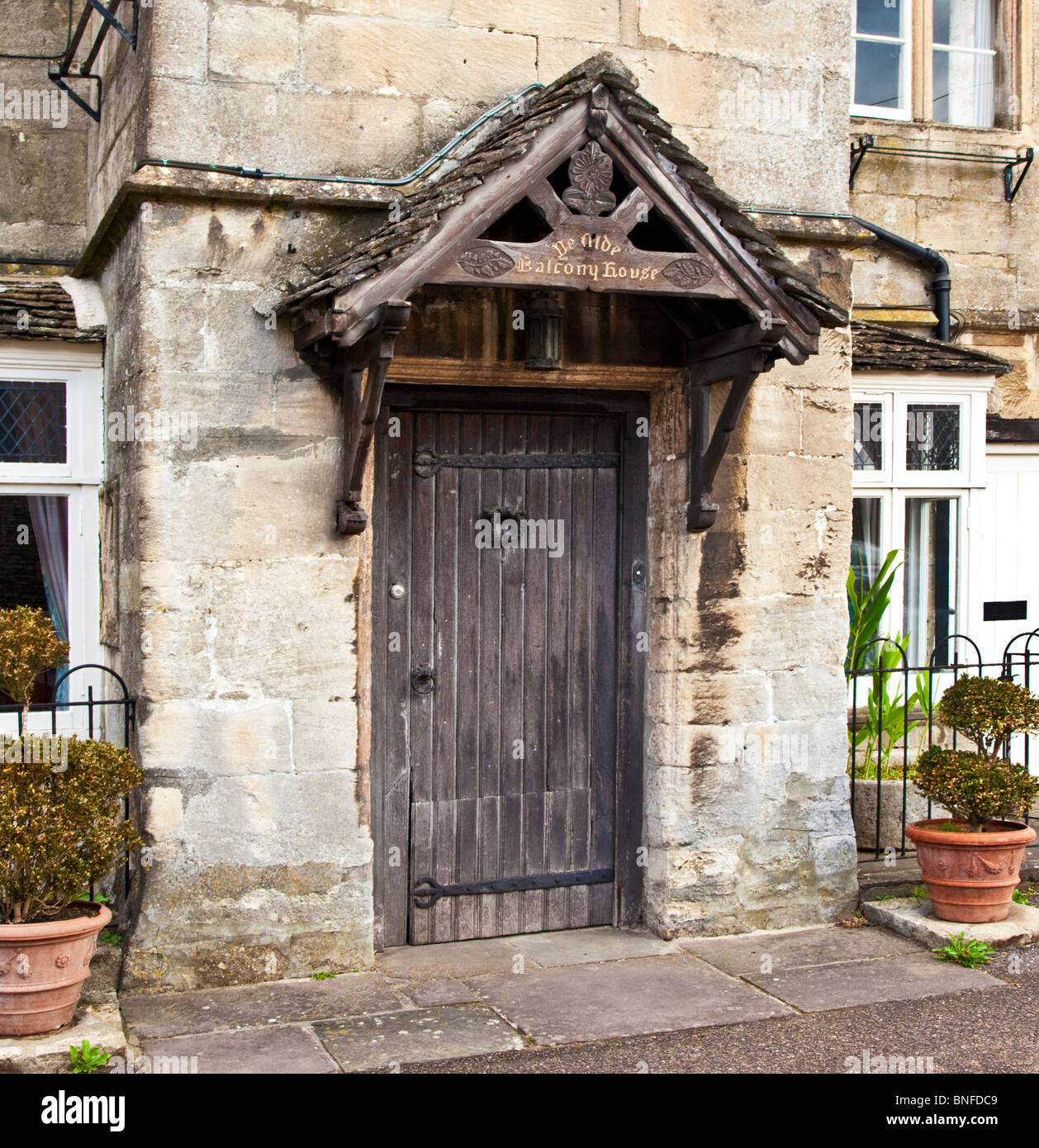The wooden front door of Ye Olde Balcony House a medieval house in the Cotswold & Medieval Front Door Stock Photos \u0026 Medieval Front Door Stock ...
