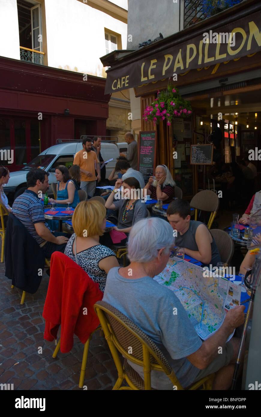 Cafe restaurant terrace Rue Mouffetard street Latin Quarter Paris ...