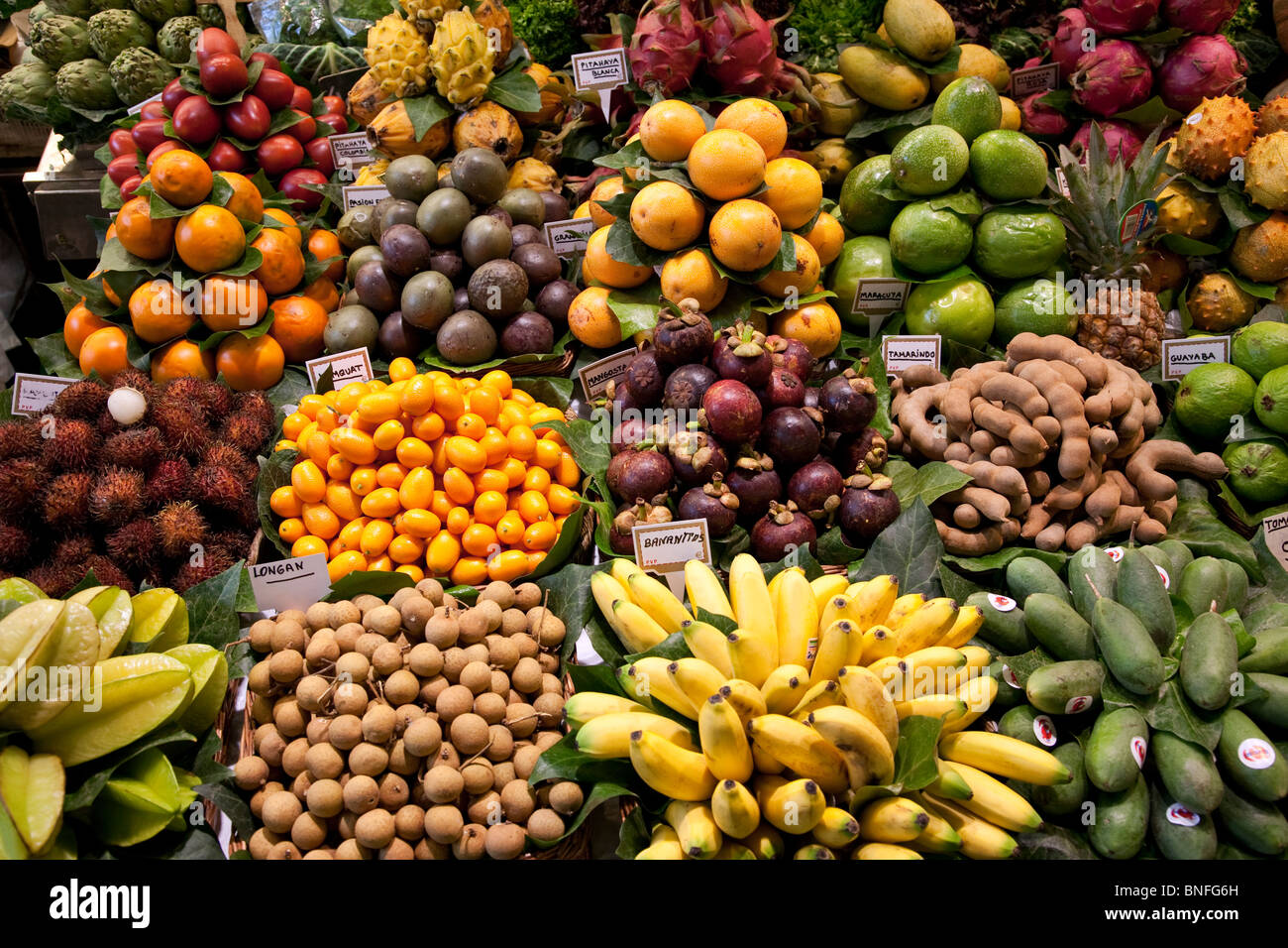 exotic fruits la boqueria market barcelona spain stock photo royalty free image 30460153. Black Bedroom Furniture Sets. Home Design Ideas