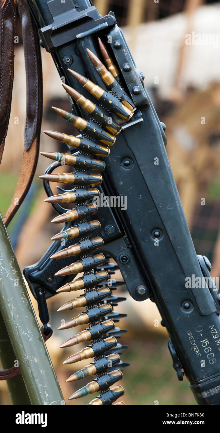 WW2 German army MG 42 machine gun with bullet belt ...