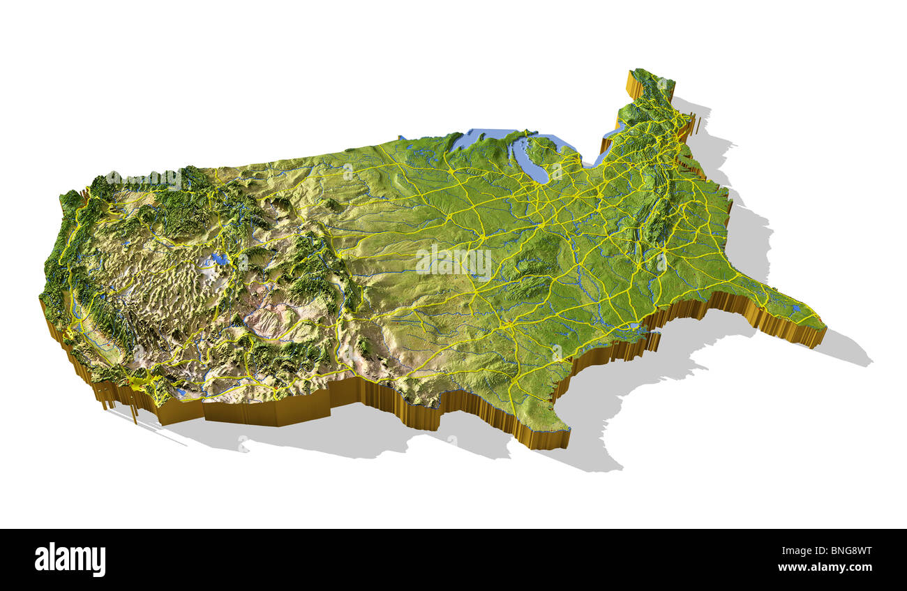 Shaded Relief Maps Of The United States Raised Relief Map Of The - 3d map usa states
