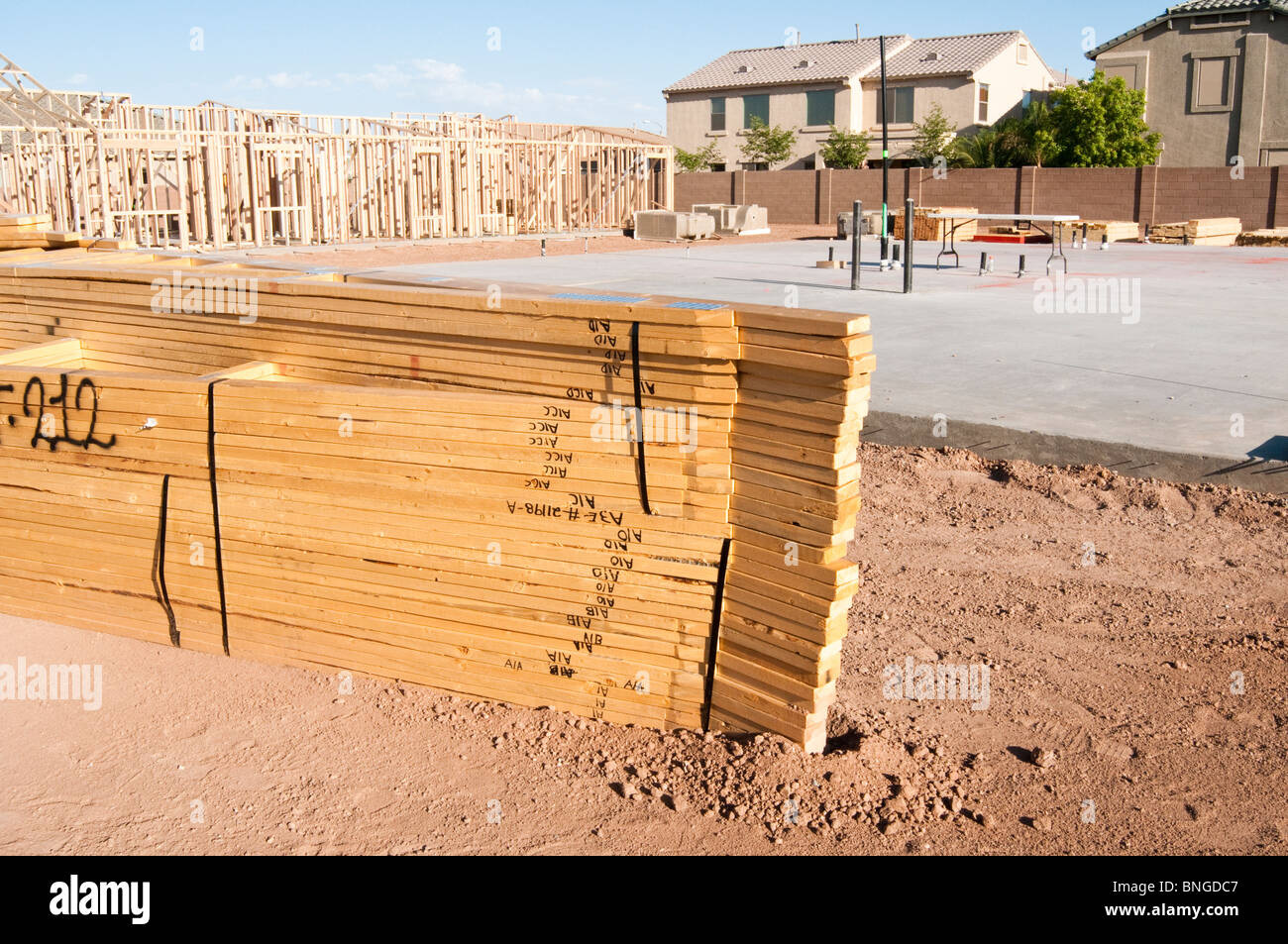 Building Home Materials : Building materials are stacked on the construction site