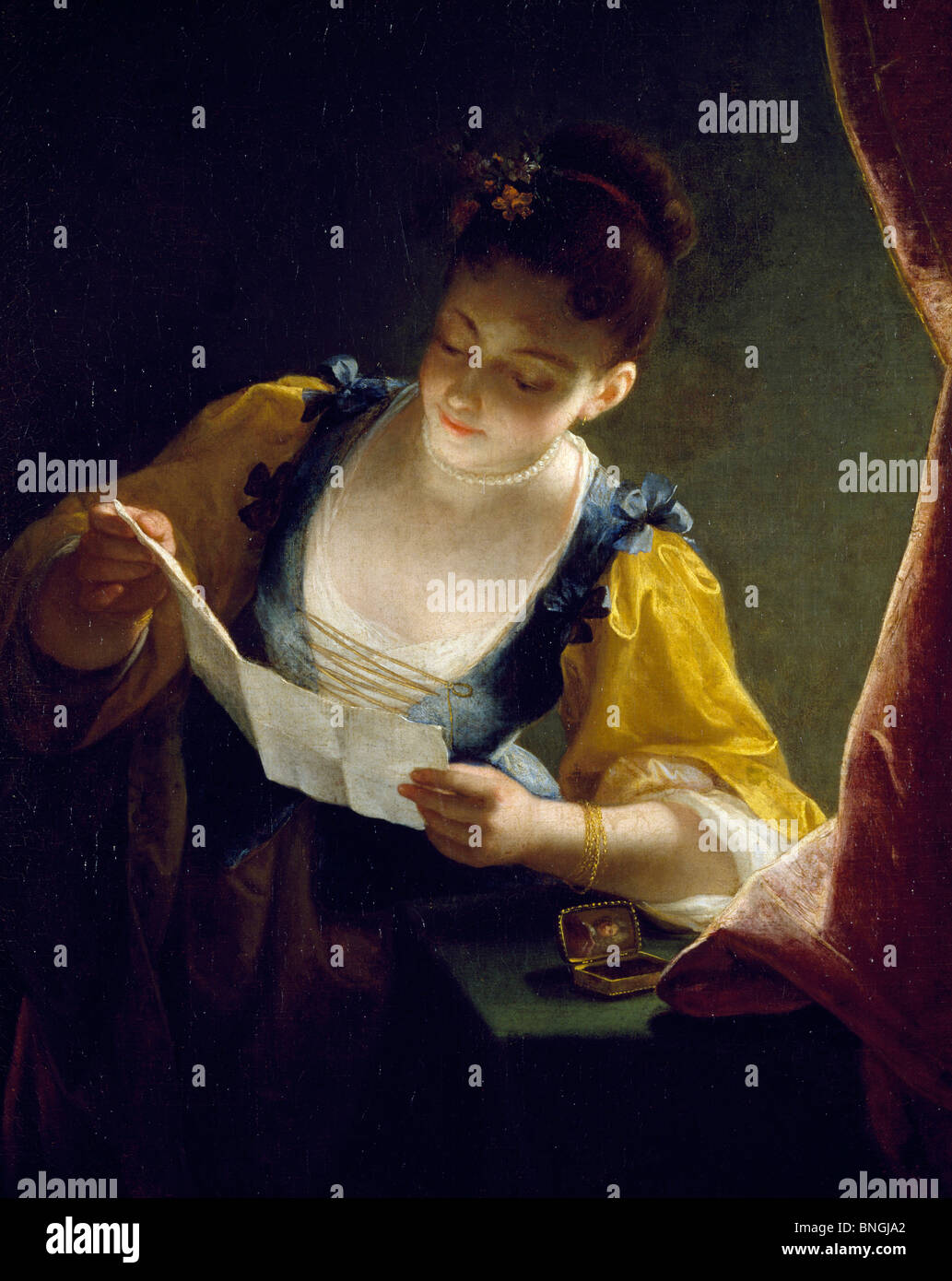 young w reading a letter by jean raoux th century stock young w reading a letter by jean raoux 18th century 1677 1734 paris musee du petit palais