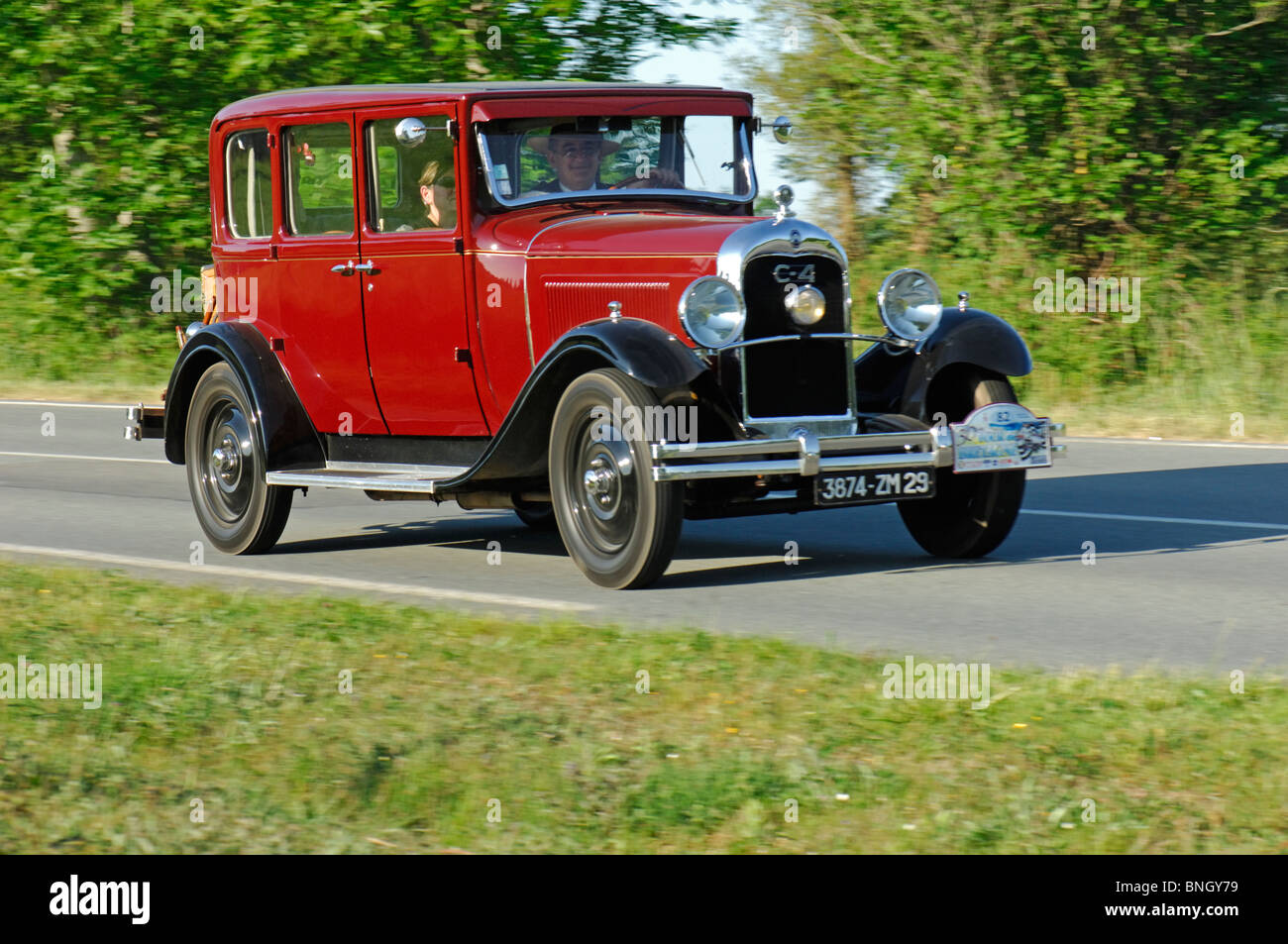 citroen ac4 limousine 1930 in the tour de bretagne classic car stock photo royalty free image. Black Bedroom Furniture Sets. Home Design Ideas