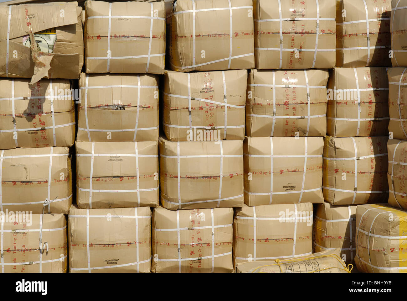 Pile large amount boxes emirate sharjah arabia arabic