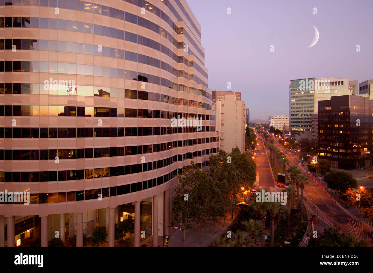 Usa San Jose California Downtown San Jose Crescent Moon City Town Center  Buildings Offices Modern Architecture Street Night