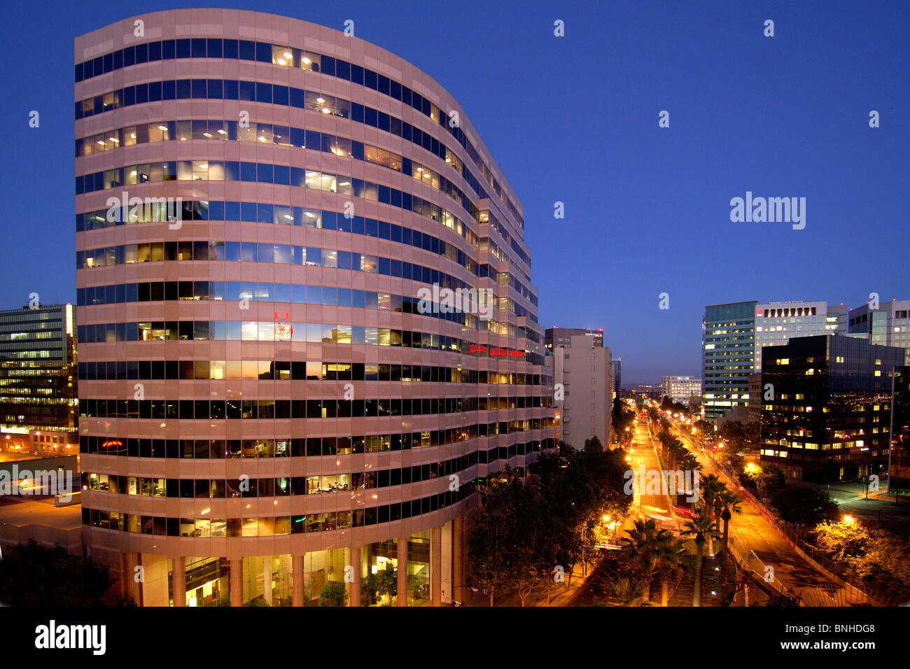 Usa San Jose California Downtown San Jose City Town Center Buildings  Offices Modern Architecture Street Night Twilight Dusk