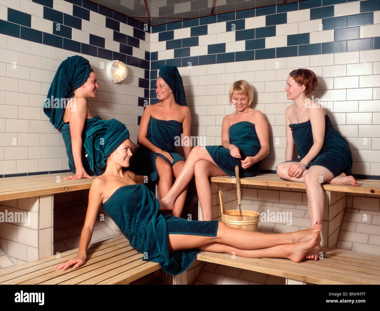 Sweden Stockholm Group Women Sauna 20-30 years Adult Adults Bare ...