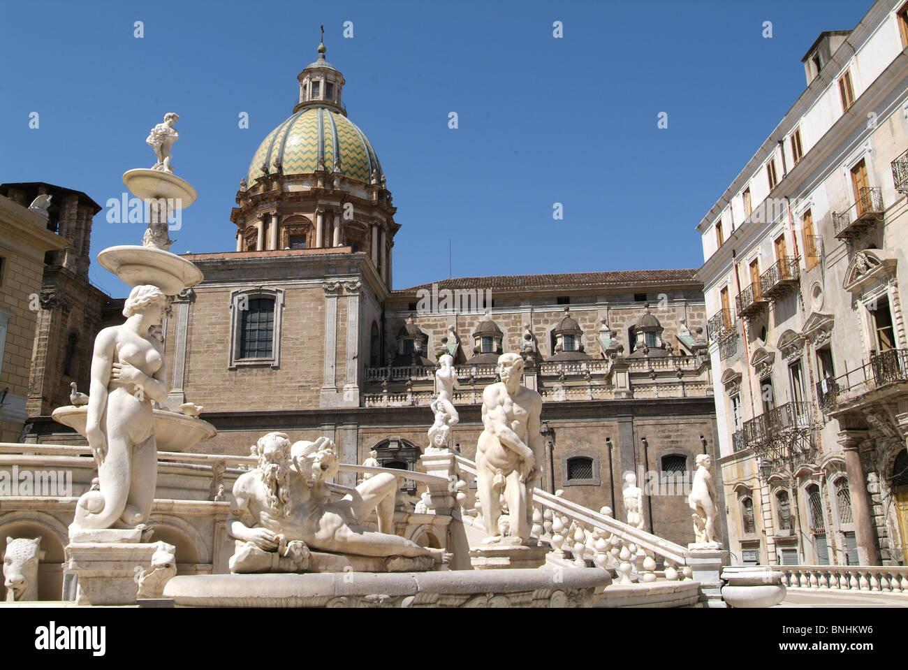 italy sicily palermo city piazza pretoria san giuseppe dei teatini