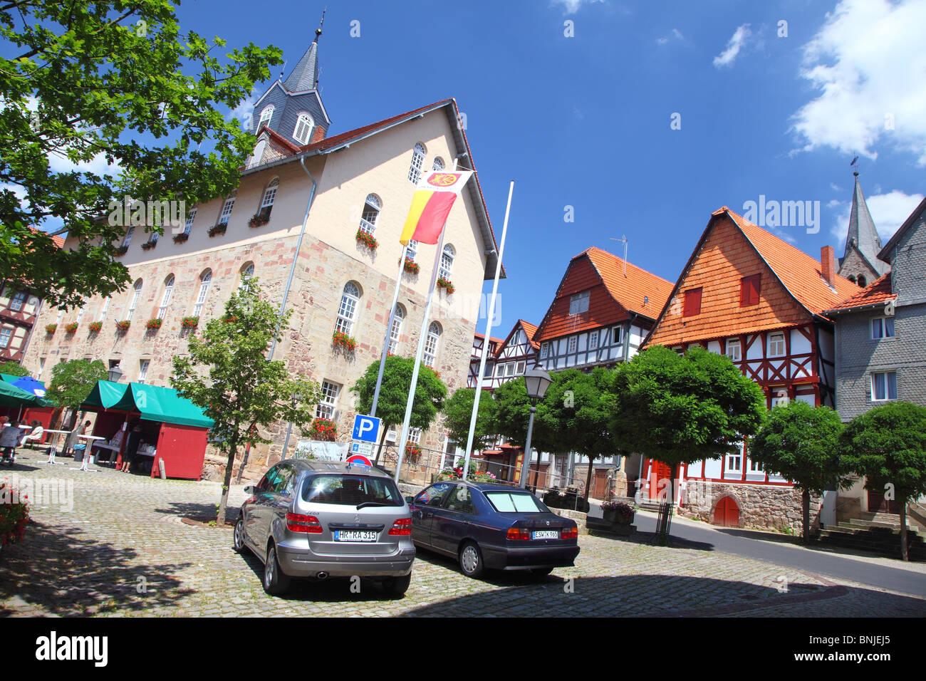 Timbered Houses In Spangerberg Hesse Hessen Germany Stock Photo - Hessen germany