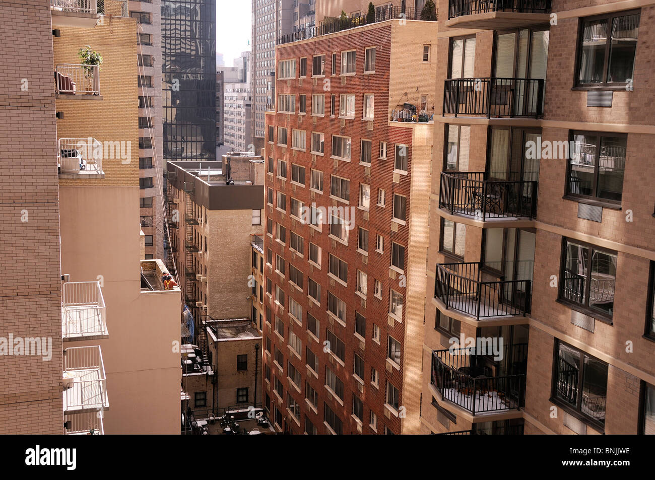 46th Street view buildings Manhattan New York USA apartments city
