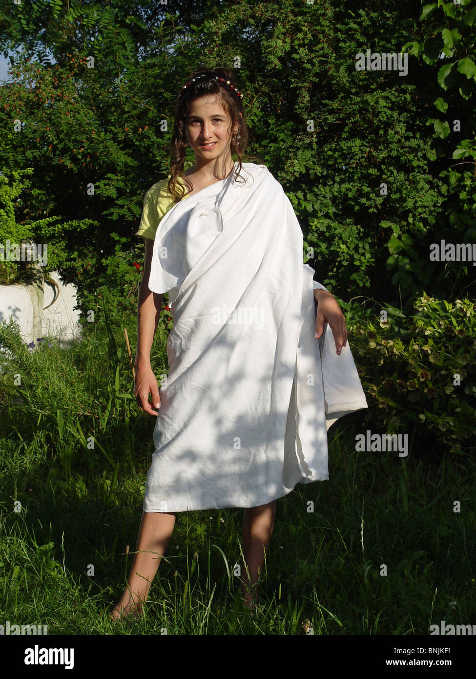 girls teenagers meadow toga roman linen disguising fancy dress