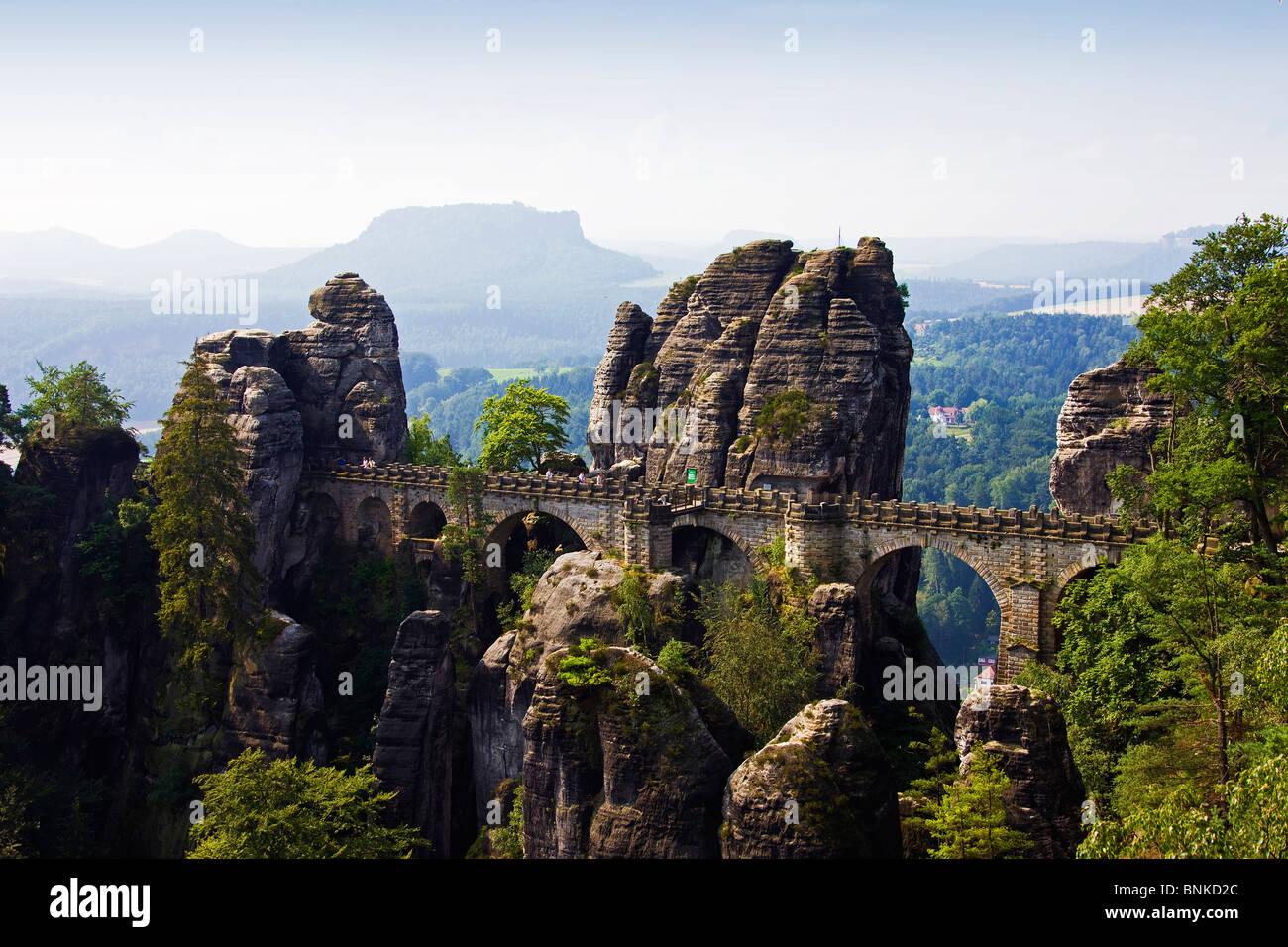 Germany bastion Belvedere Saxon Switzerland bridges rocks cliffs ...
