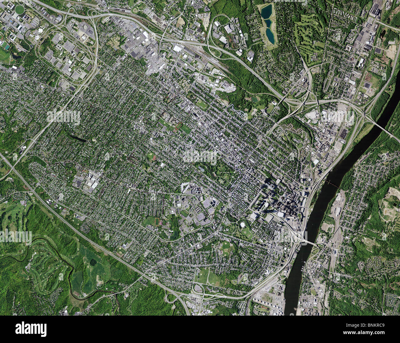 Aerial Map View Above Hudson River Albany New York Metropolitan - New york map hudson river
