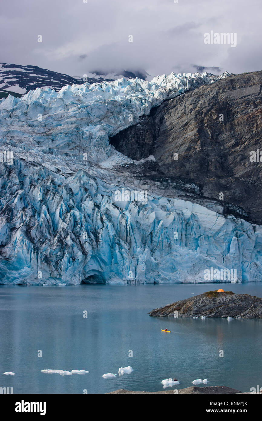 Scenic view of Shoup Glacier and c& tent set on a island Shoup Bay State Marine Park Prince William Sound Alaska & Scenic view of Shoup Glacier and camp tent set on a island Shoup ...