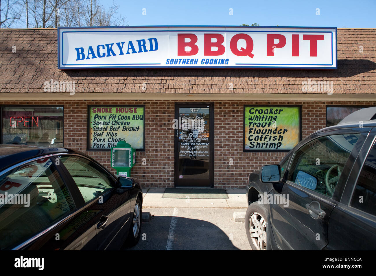 backyard bbq pit restaurant southern style bbq stock photo