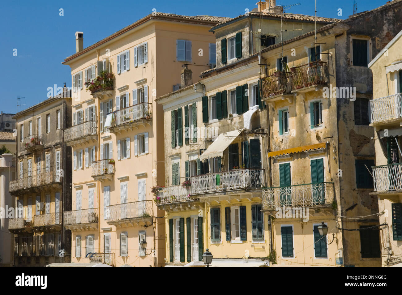 Venetian Style traditional venetian style buildings in old corfu town on the