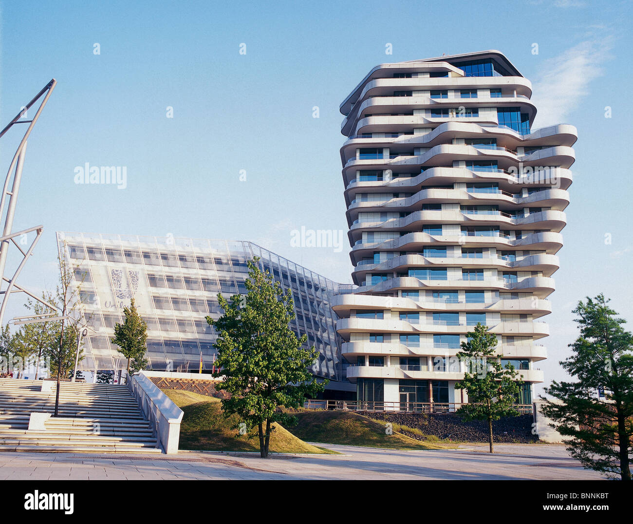 the new marco polo tower in hamburg build by behnisch architects stock photo royalty free image. Black Bedroom Furniture Sets. Home Design Ideas