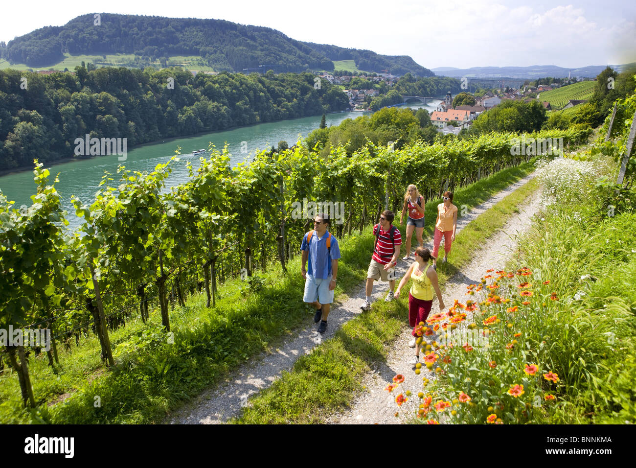 Switzerland Swiss Group Walk Hike Five Persons Footpath River Flow - Swiss river to the rhine