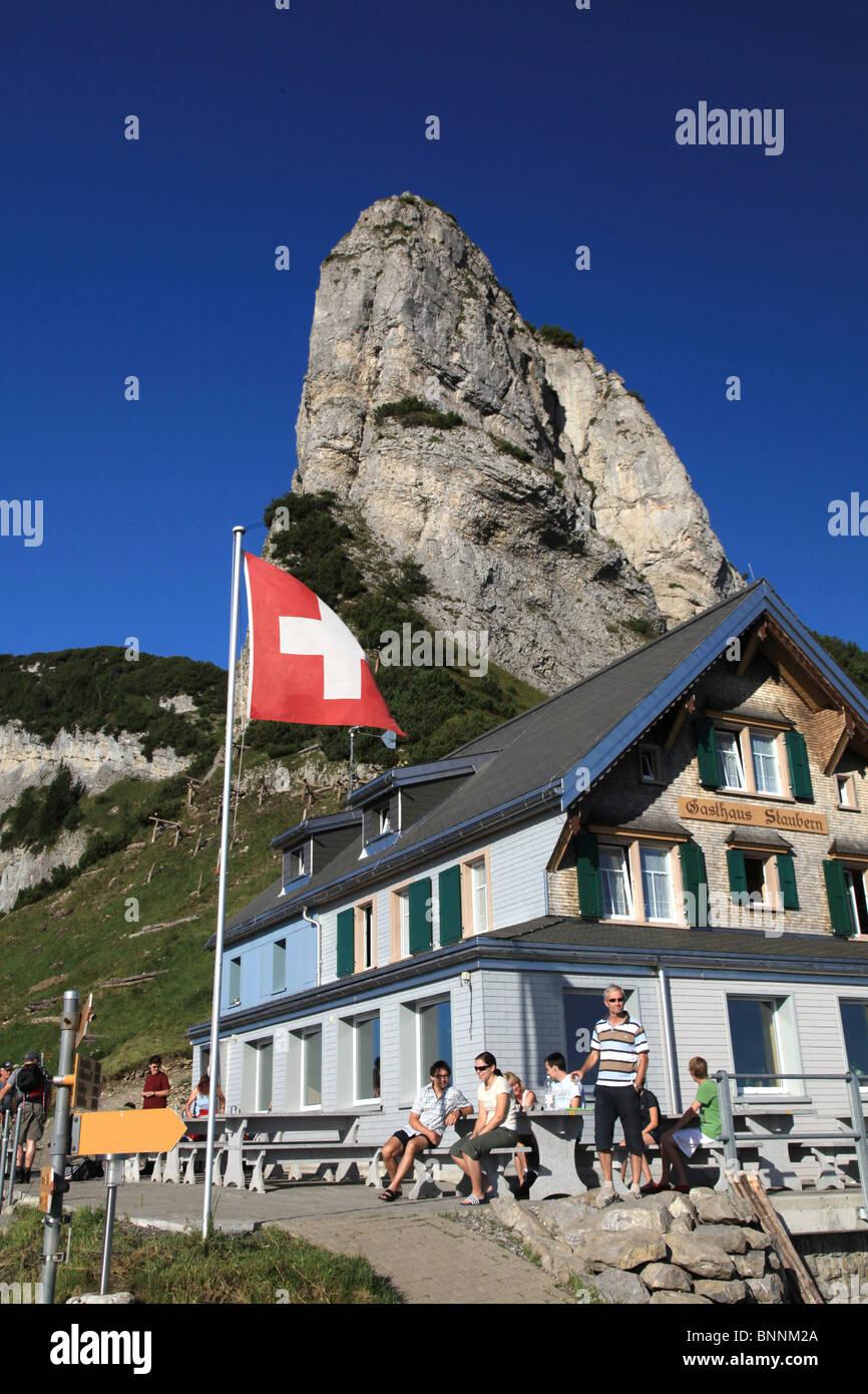 Swiss Mountain House switzerland swiss scenery alpstein mountains walking hiking hut