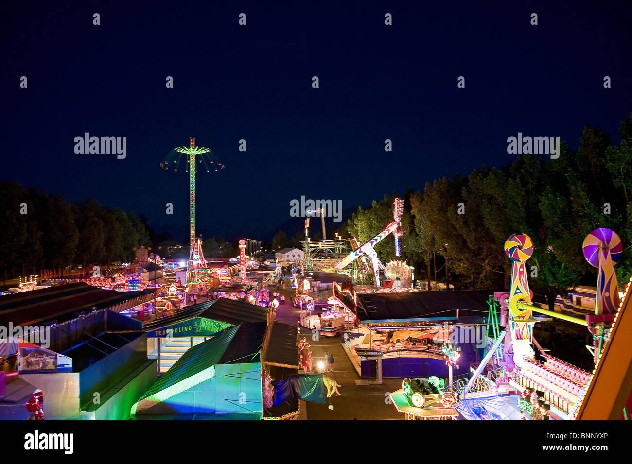 Luna park amusement park carousel attraction fairground colour ...