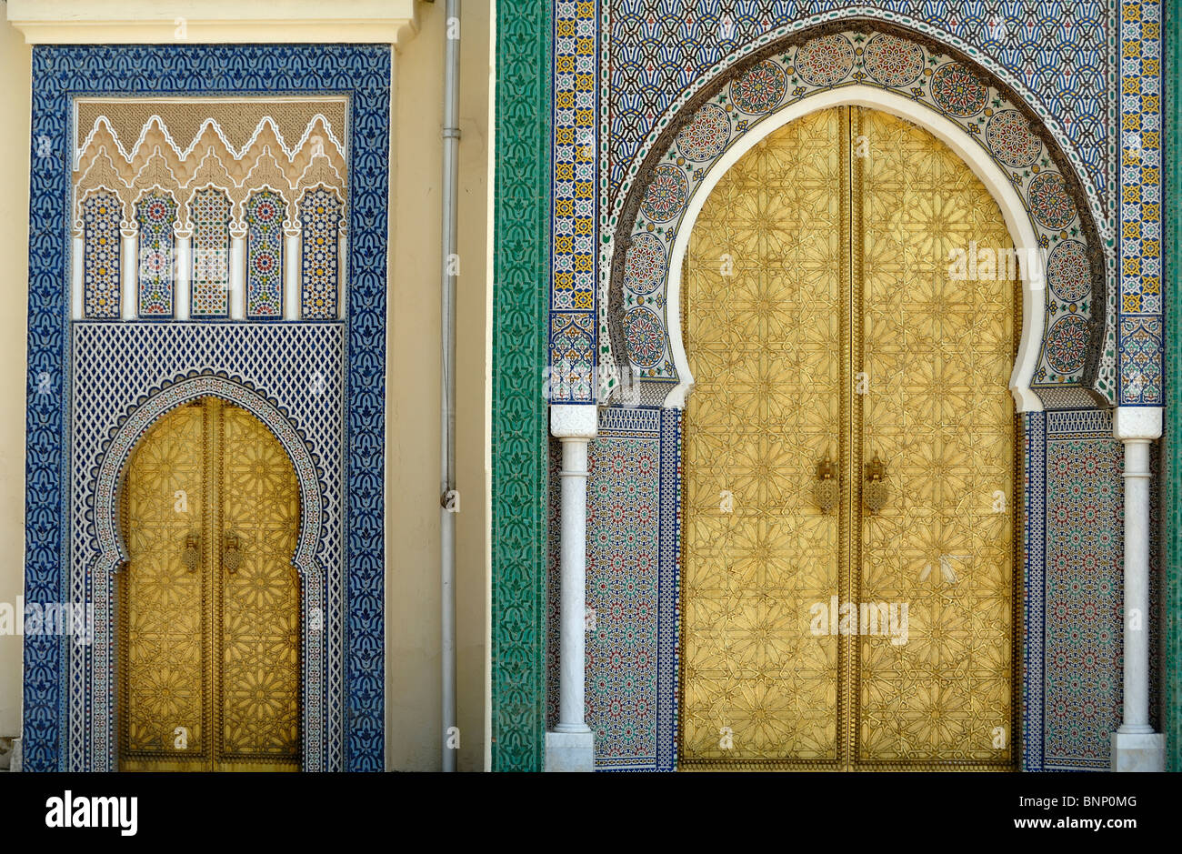... Gold or Golden Gate Arabic or Oriental Doors of the Royal Palace in Fez & Fez Morocco. Royal Palace Doors Dar El Makhsen Stock Photo ...