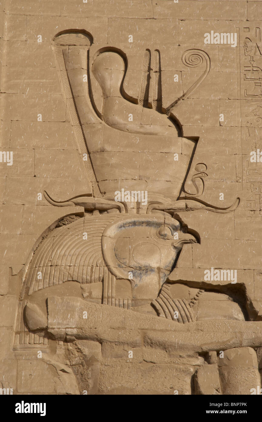 temple of horus god horus double crown main entrance first stock photo temple of horus god horus double crown main entrance first pylon detail edfu