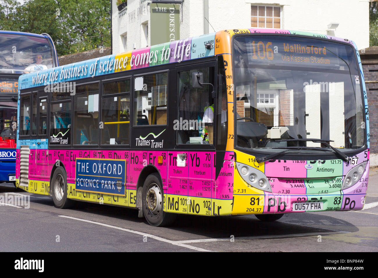 Bus with periodic table of elements oxford stock photo royalty bus with periodic table of elements oxford gamestrikefo Images