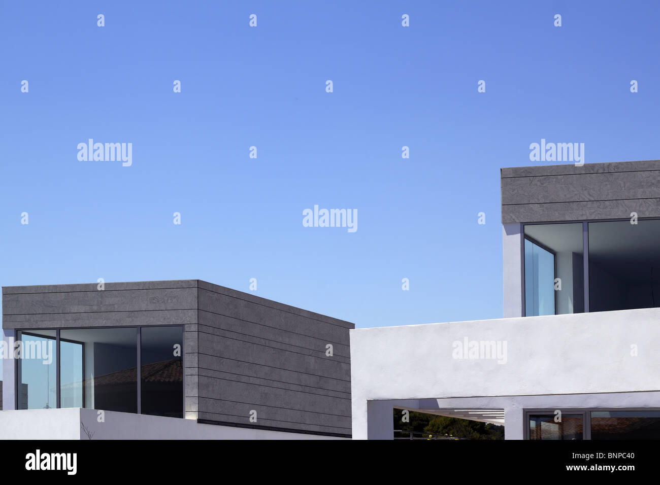 Architecture Modern Houses Crop Details Blue Sky Stock Photo