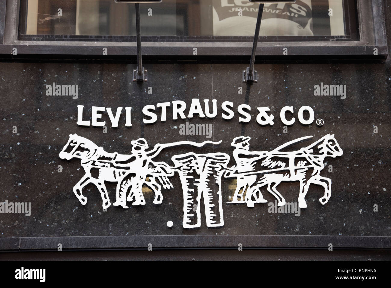 europe levi strauss co sign and logo on a clothes shop. Black Bedroom Furniture Sets. Home Design Ideas
